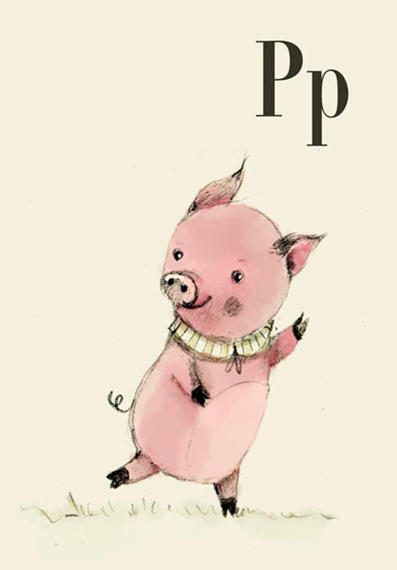 P for Pig - 6x8 - Alphabet art - Alphabet Letters - Baby Zoo Animals - Safari Nursery - Nursery art - Nursery decor - Baby Animals