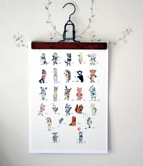 Animal ALPHABET POSTER A3 size- Print-English-Educational-Nursery wall decor-Animal print