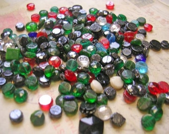 Vintage czech pressed glass bead collection
