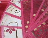 Social Cards in Gold, Magenta, and Red