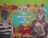 gossip - framed 5 x 7 ORIGINAL COLLAGE by Nancy Lefko