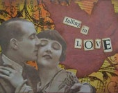 falling in love - ACEO ORIGINAL COLLAGE by Nancy Lefko