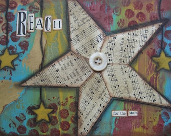 reach - 5 x 7 ORIGINAL COLLAGE by Nancy Lefko