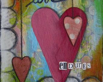 love endures - 6 x 6 Original Collage on Canvas by Nancy Lefko
