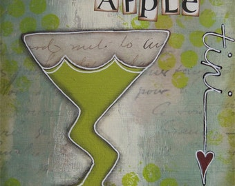 apple tini - 5 x 5 ORIGINAL COLLAGE by Nancy Lefko