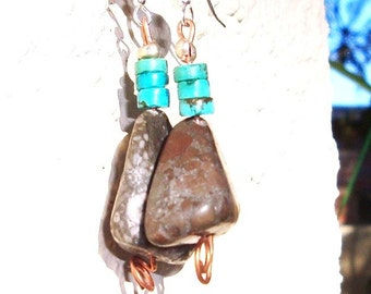 SALE, Fossil Jasper and Turquoise Earrings