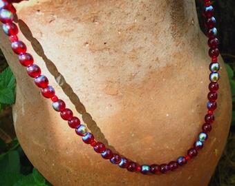 SALE, Valentine's Day Ruby Red Czech Glass Necklace