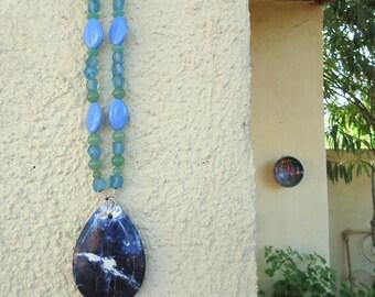 SALE, Natural Sodalite Drop Necklace