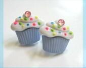 Blue Cupcake Earrings, Kawaii Studs, Neon Sprinkles, Sweet Treats, Food Jewelry