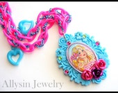 Barbie Cameo Necklace in Hot pink and Baby Blue