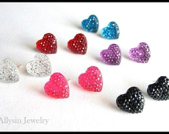Rhinestone Heart Earrings, Crystal Clear Resin Studs, Kawaii Sparkle Earrings