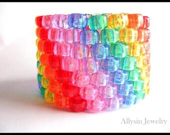 Translucent Rainbow Kandi, Cuff Bracelet, Raver Plur