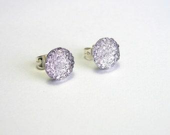 Light Purple Earrings, Lavender Studs, Lilac Crystal Rounds, Simple Minimalist