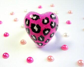 Leopard Print Ring, Pink Resin, Neon Glitter, Black Animal Spots