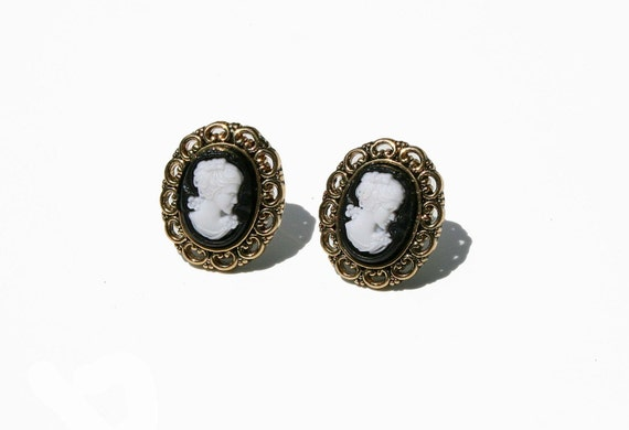 Victorian Cameo Earrings, Vintage Inspired Studs