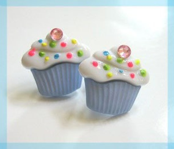 Blue Cupcake Earrings, Kawaii Studs, Neon Sprinkles, Sweet Treats, Food Jewelry