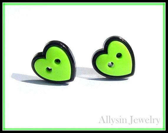 Heart Stud Earrings, Lime Green Buttons