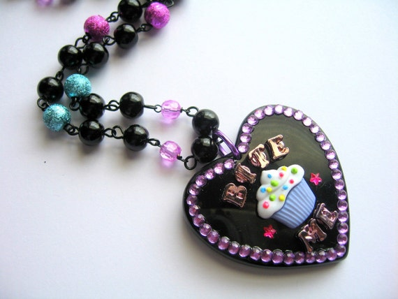 Bite Me Necklace, Cupcake Heart Pendant