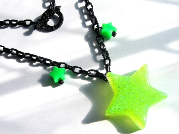 Neon Green Star Necklace, Lime and Black Resin
