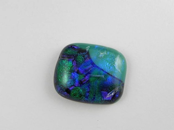 Turquoise Aqua Blue and Green Dichroic Fused Glass Cabochon - 1016