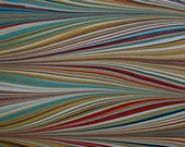 Hand Marbled Paper - Turquoise, Ochre, Red, Black, White