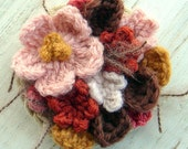 Pink and Brown Flower Brooch Crochet