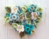Custom order for Lynn crochet heart corsage pin in turquoise