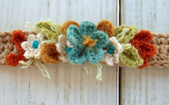 Crochet Turquoise and Orange Flowers Bracelet