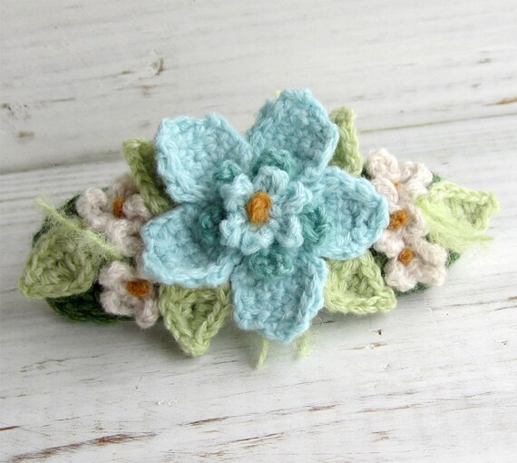 Crochet Hair Barrette Aqua Blue and Turquoise with White Flowers