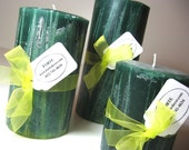 Set of Three Candles scented Rosemary and Mints  'Grass is Green Over Here'
