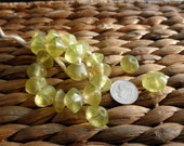 20pcs - 1930s Czech pressed glass faceted Vaseline Beads - Free US shipping