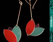 Brick, Dusty Teal, Plum -- Lotus Blossom Drop Earrings