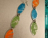Aged Persimmon, Leaf and Sky Vesica Piscis--Upcycled Tri-Drop Earrings