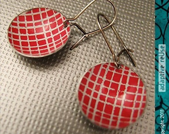 Red Picnic Blanket -- Upcycled Tiny Basin Earrings