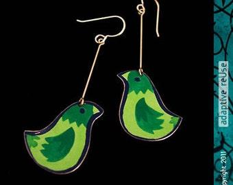 Chunky Monk Parakeets -- Long Drop Earrings