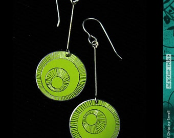 Bright Green Hand Etched--Drop Earrings