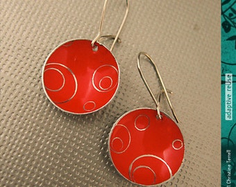 Deep Red Etched Circles--Tiny Basin Earrings