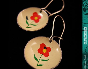Vintage Red Posey -- Recycled Tiny Basin Earrings