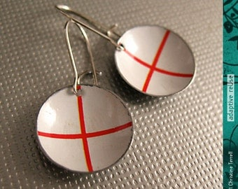 St. George's Cross -- Upcycled Tiny Basin Earrings