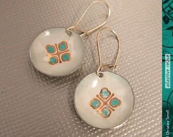Tiny Teal Powderpuffs--Tiny Basin Earrings