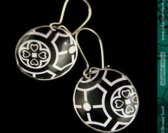 Black and White -- Upcycled Tin Tiny Basin Earrings