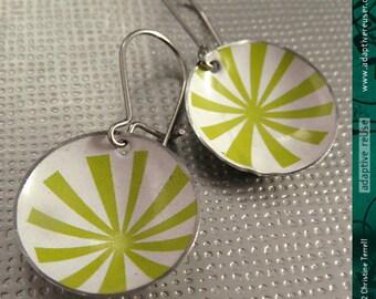 Mod Green Asterisks -- Upcycled Tiny Basin Earrings