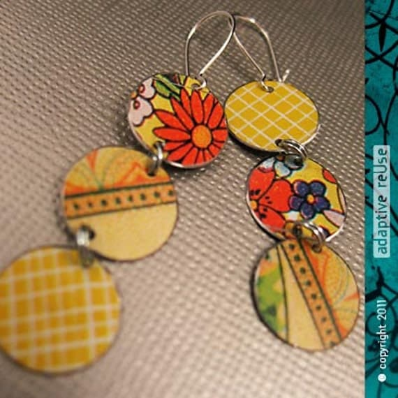 Mixed Vintage Yellows -- Tri-Drop Earrings