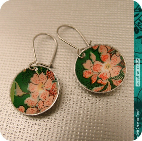 Pink Flowers on Green -- Upcycled Tiny Basin Earrings