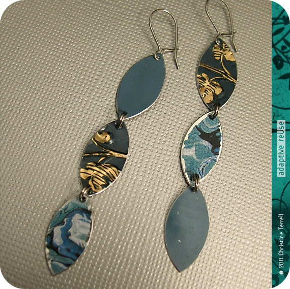 SALE........Mixed Blues Vesica Piscis -- Upcycled Tri-Drop Earrings