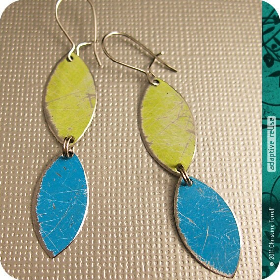 Aged Citron and Bright Blue Vesica Piscis--Upcycled Drop Earrings