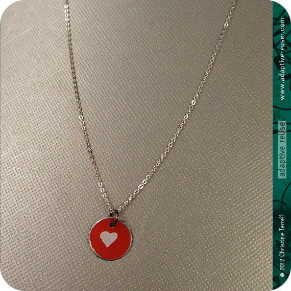 Teeny Vintage Heart -- Charm Necklace