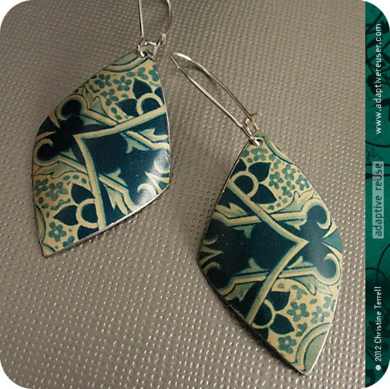 SALE........Vintage Cream and Teal -- Upcycled Tin Earrings