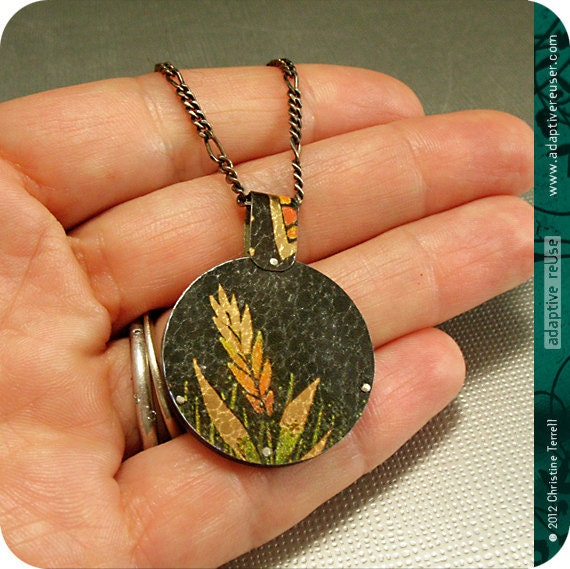 SALE........Toucan and Shimmering Wheat -- Upcycled Tin Reversible Necklace
