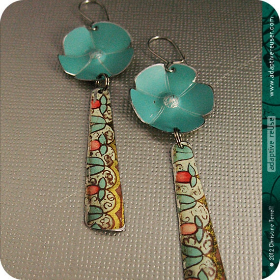 Aqua Vintage Blossoms  --  Upcycled Tin Dangle Earrings